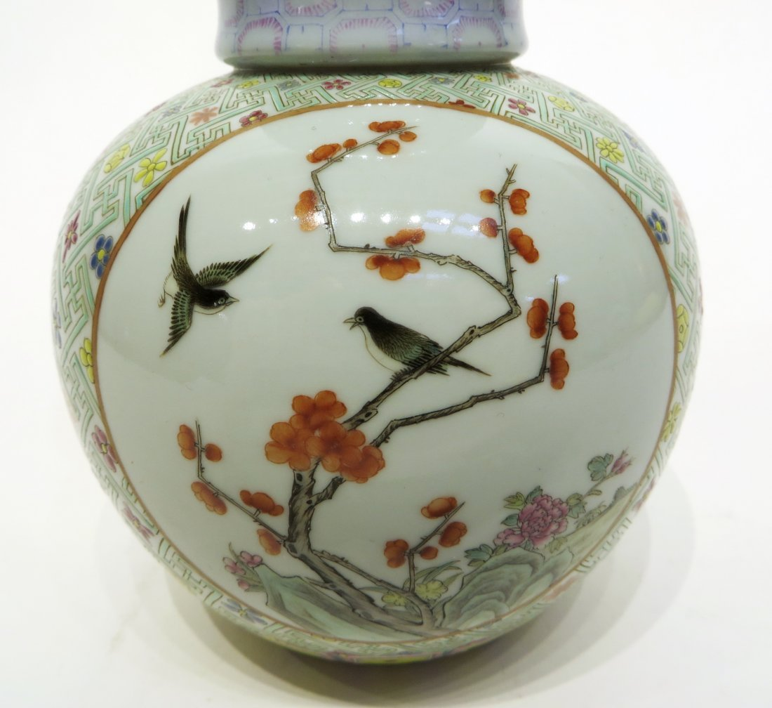 CHINESE FAMILLE ROSE DOUBLE GOURD VASE - 6