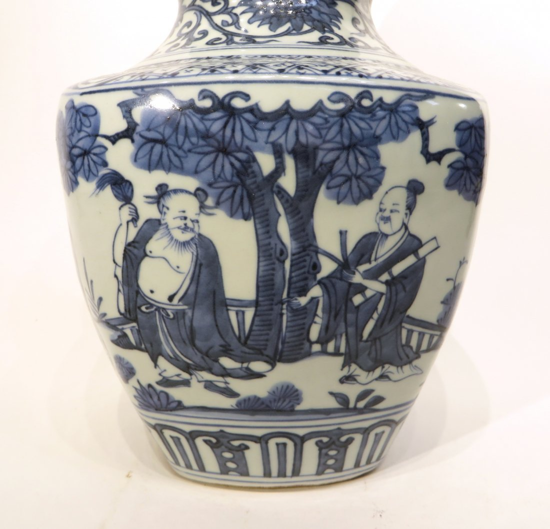 CHINESE JIA JING GOURD BLUE AND WHITE VASE - 3