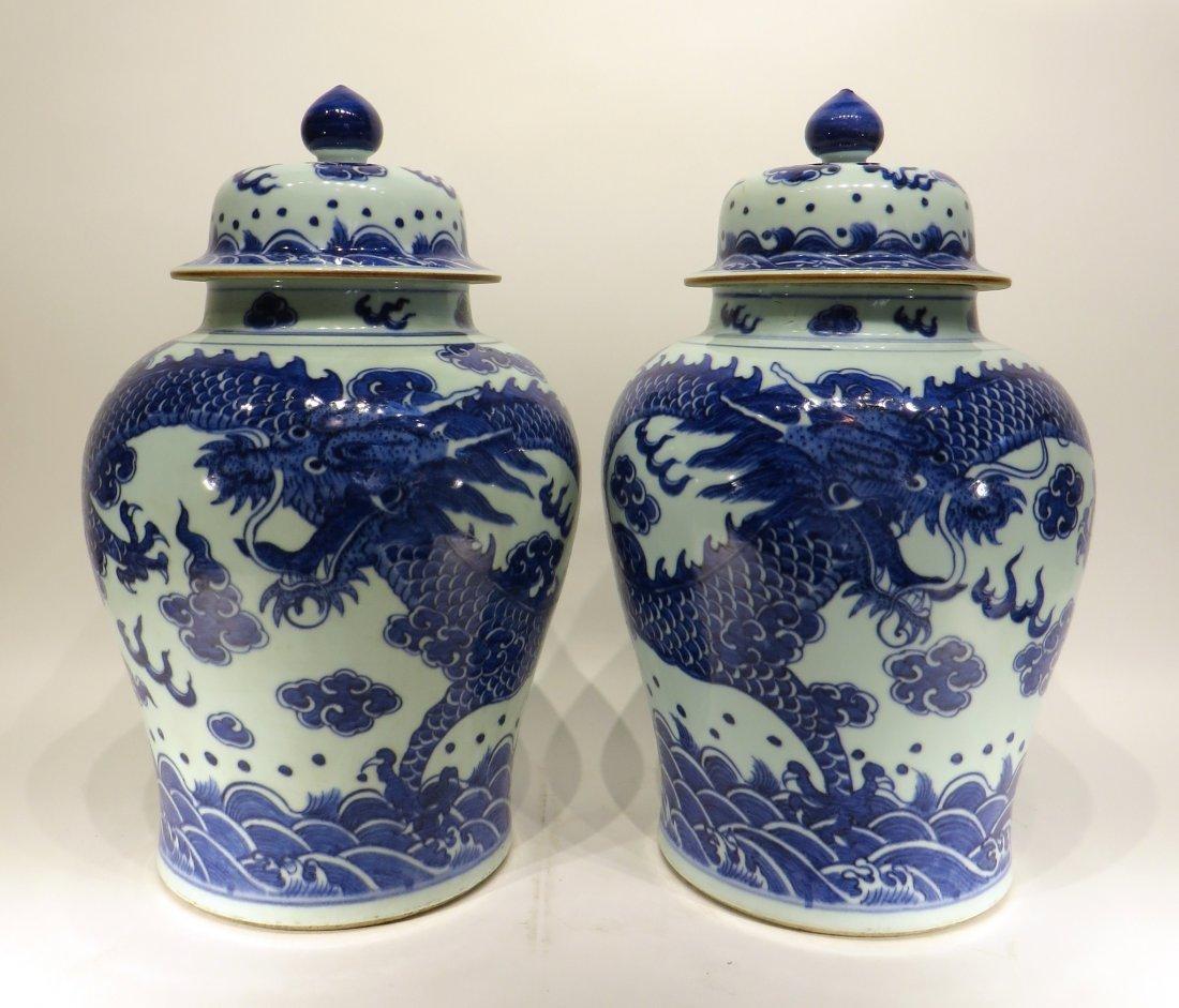 PAIR OF KANG XI BLUE AND WHITE GINGER JARS
