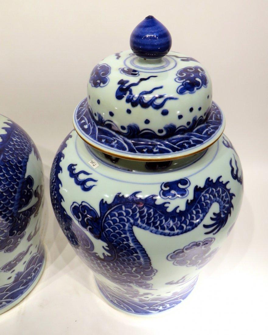 PAIR OF KANG XI BLUE AND WHITE GINGER JARS - 3