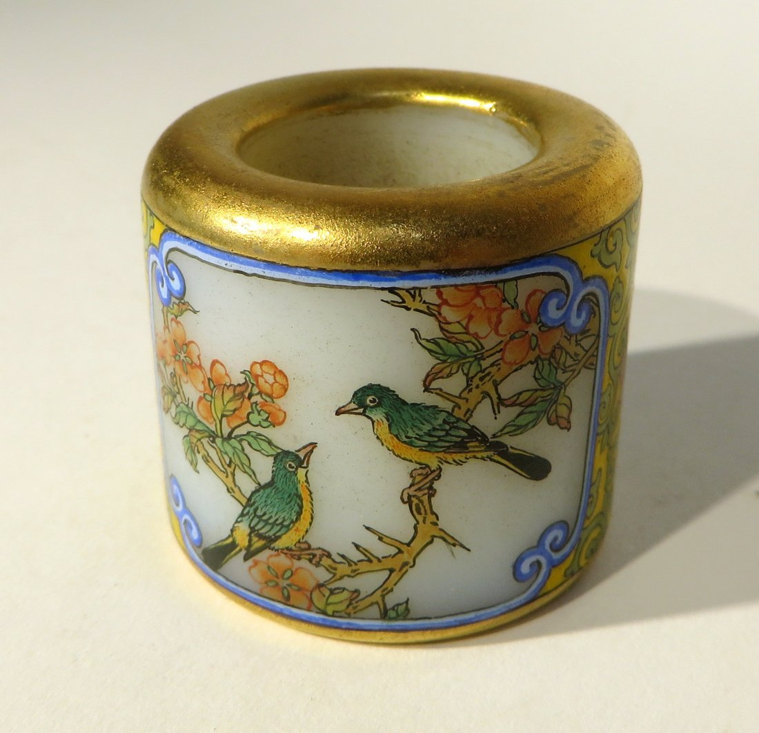 CHINESE QIAN LONG ENAMEL ARCHER'S RING