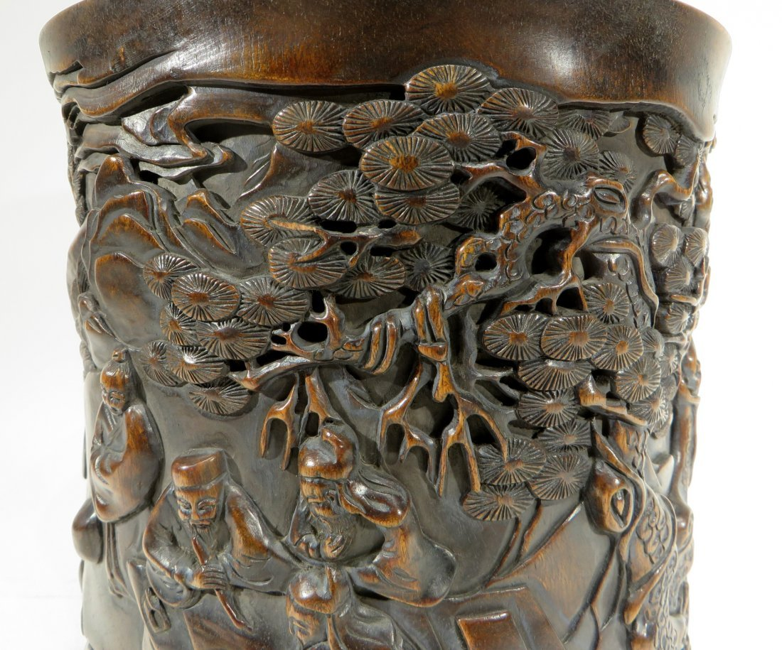 CHINESE HAND CARVED BRUSH POT - 2