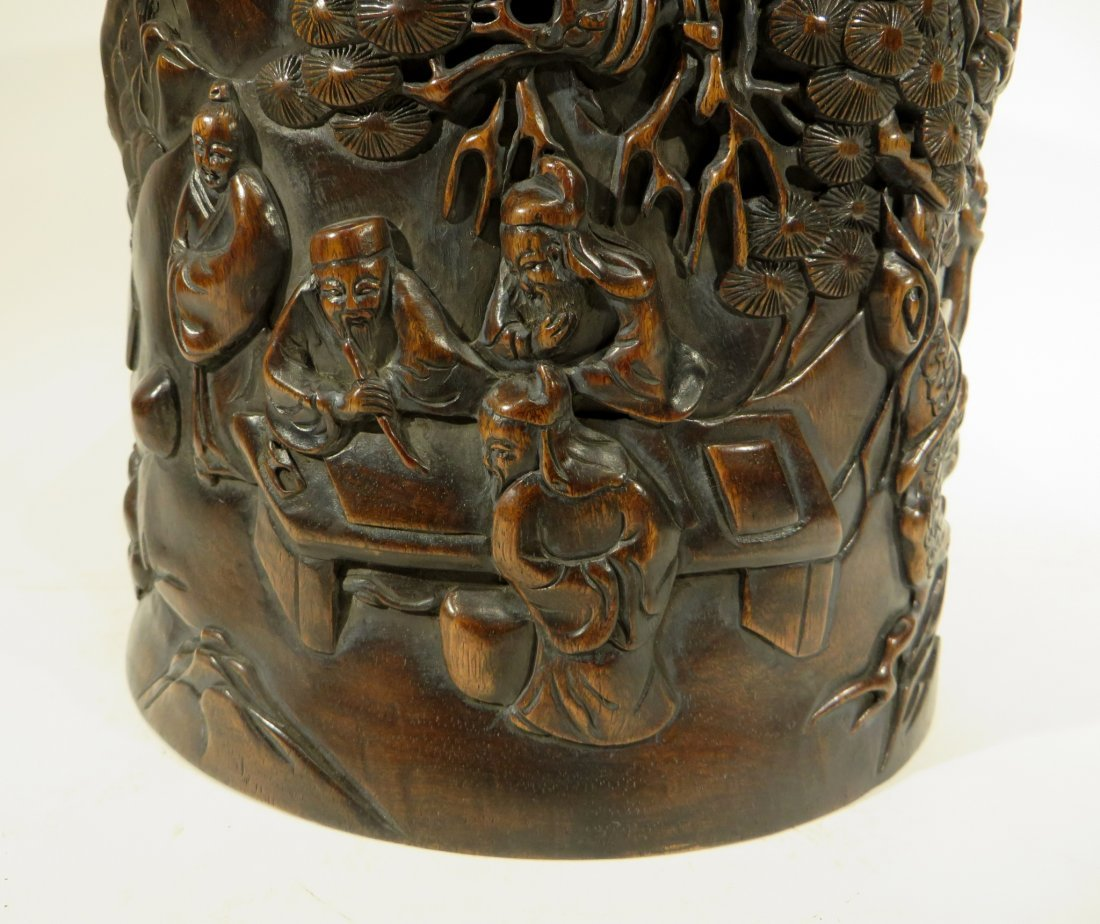 CHINESE HAND CARVED BRUSH POT - 3