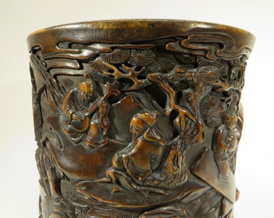 CHINESE HAND CARVED BRUSH POT - 4