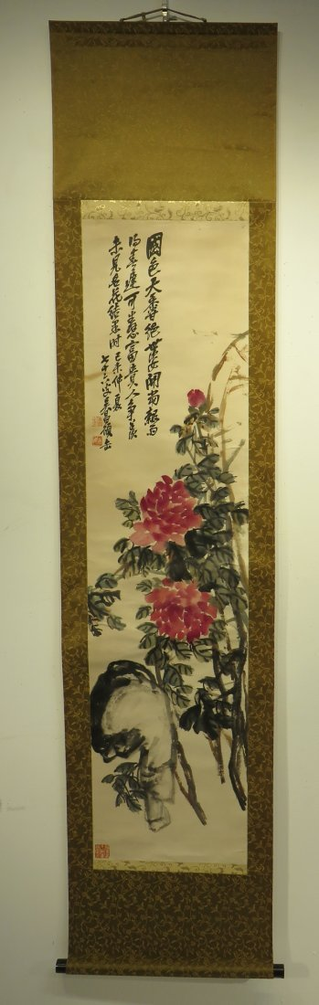 CHINESE SCROLL OF PEONIES WU CHANGSHUO - 2