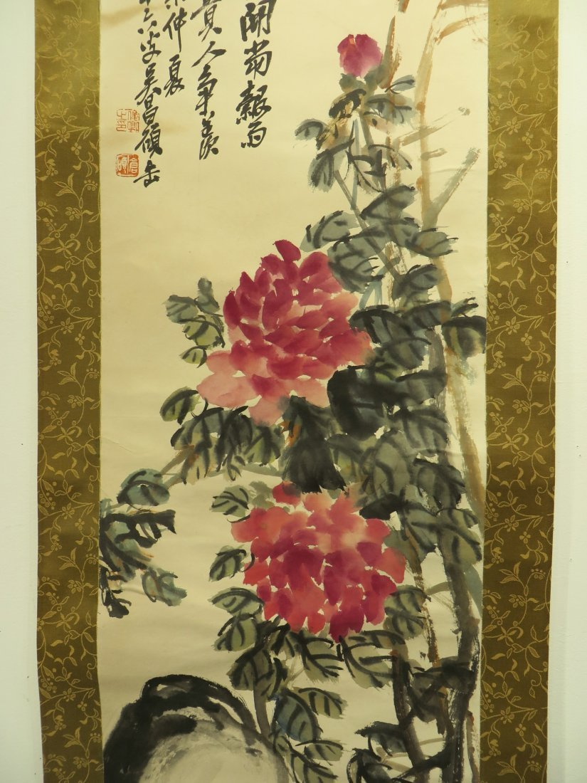 CHINESE SCROLL OF PEONIES WU CHANGSHUO - 4