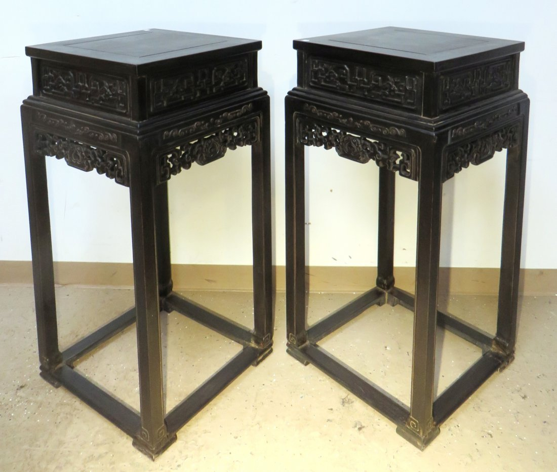 PAIR OF CHINESE ZITAN FLOWER STANDS - 4