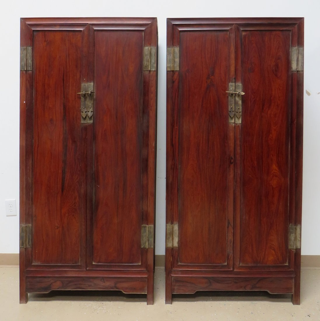 PAIR OF CHINESE HUANGHUALI NOODLE CABINETS