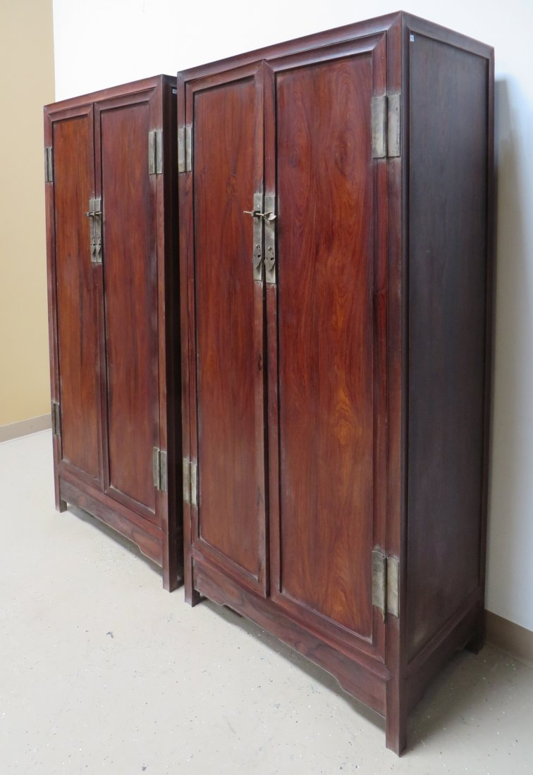 PAIR OF CHINESE HUANGHUALI NOODLE CABINETS - 4