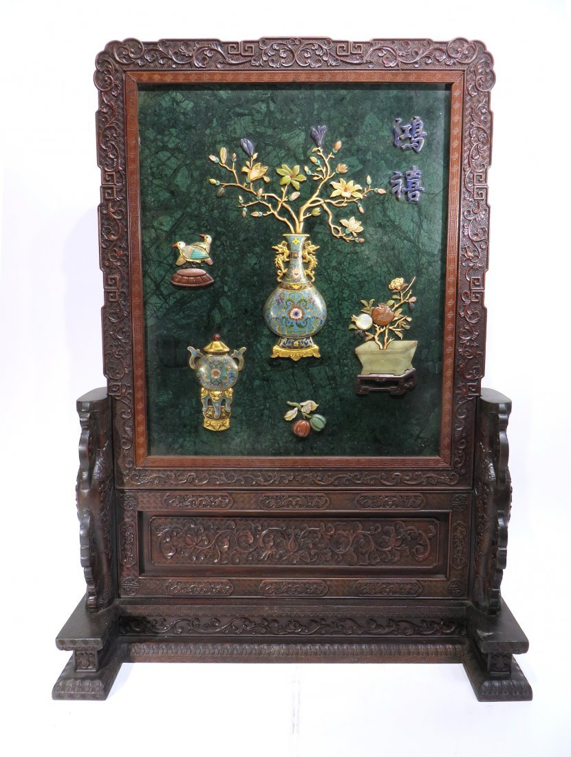 RARE CHINESE 19TH C CLOISONNE TABLE SCREEN