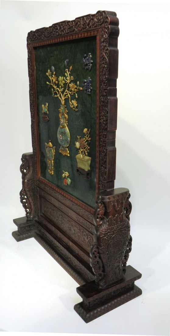 RARE CHINESE 19TH C CLOISONNE TABLE SCREEN - 2