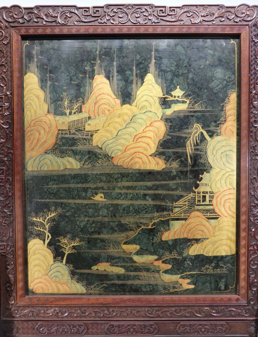 RARE CHINESE 19TH C CLOISONNE TABLE SCREEN - 4