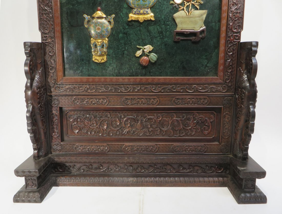 RARE CHINESE 19TH C CLOISONNE TABLE SCREEN - 6
