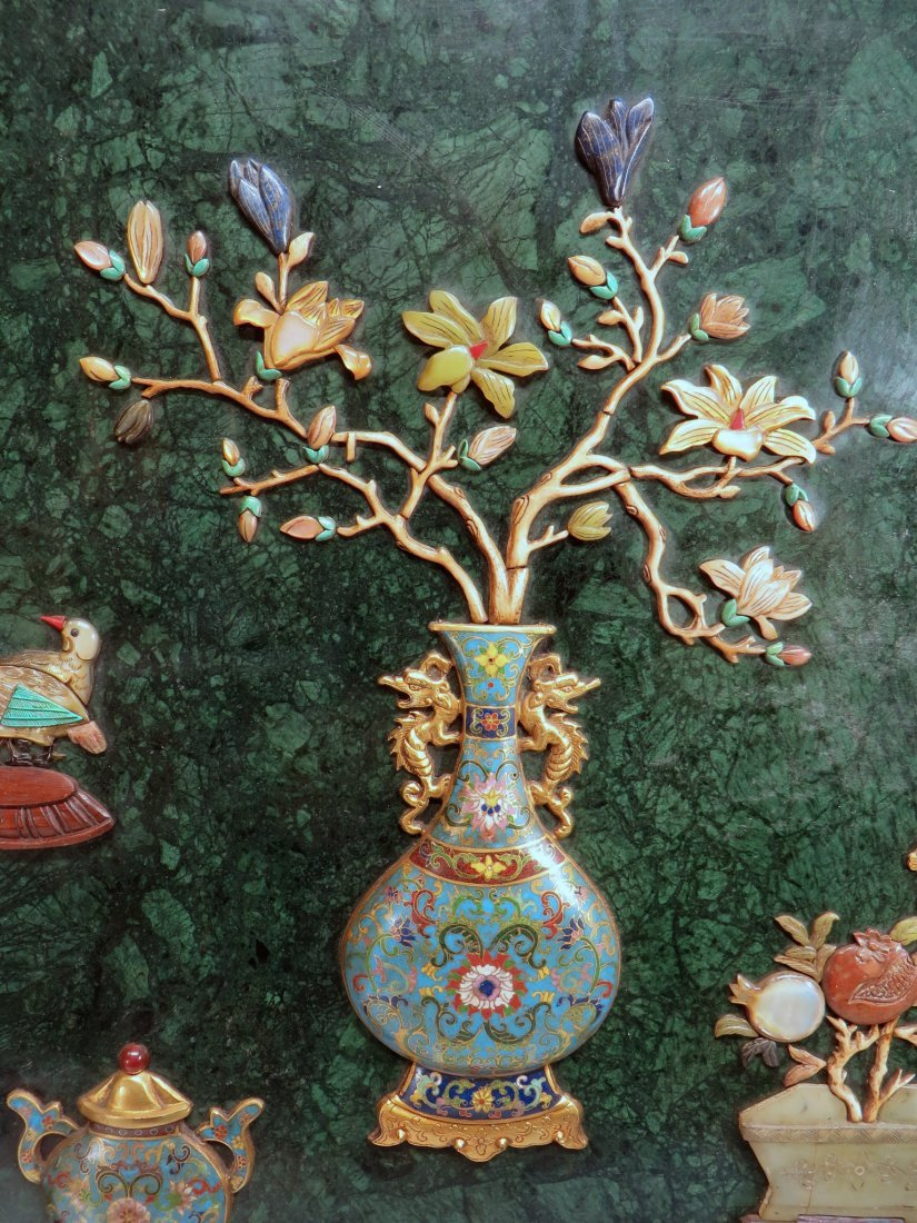 RARE CHINESE 19TH C CLOISONNE TABLE SCREEN - 8