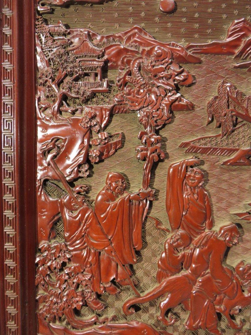 CHINESE CINNABAR TABLE SCREEN - 3