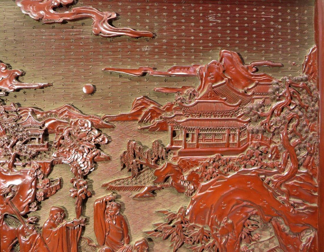 CHINESE CINNABAR TABLE SCREEN - 6