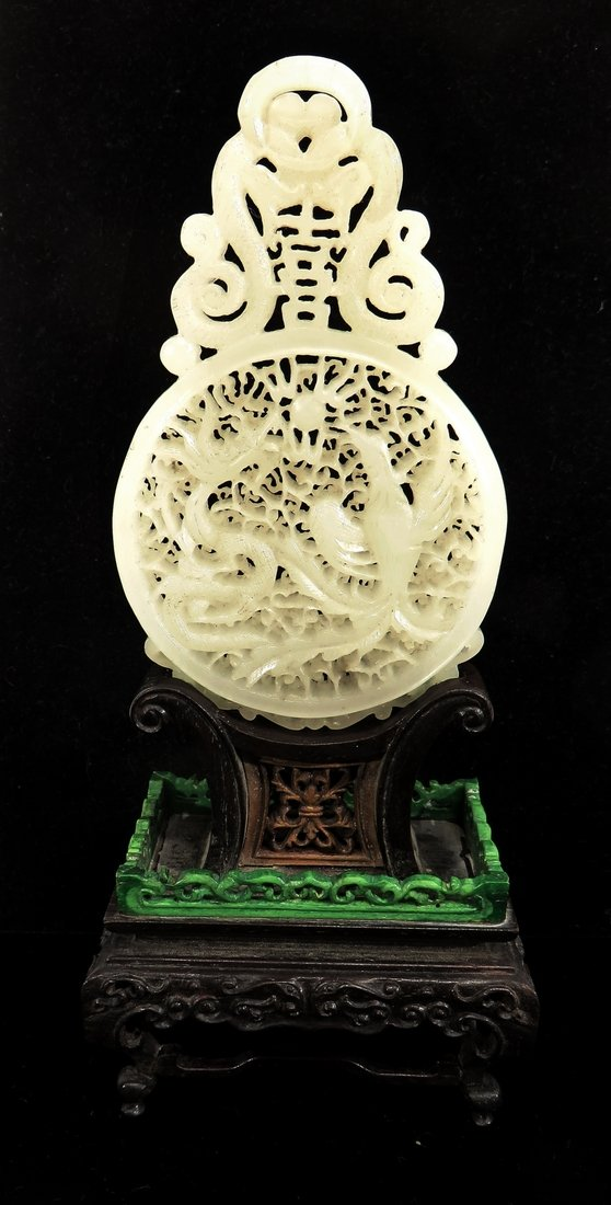 CHINESE WHITE JADE TABLE SCREEN ON CARVED STAND