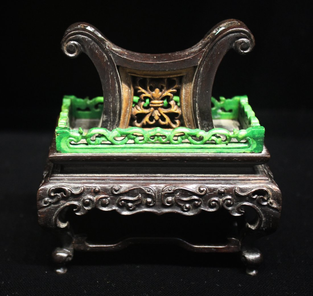 CHINESE WHITE JADE TABLE SCREEN ON CARVED STAND - 4