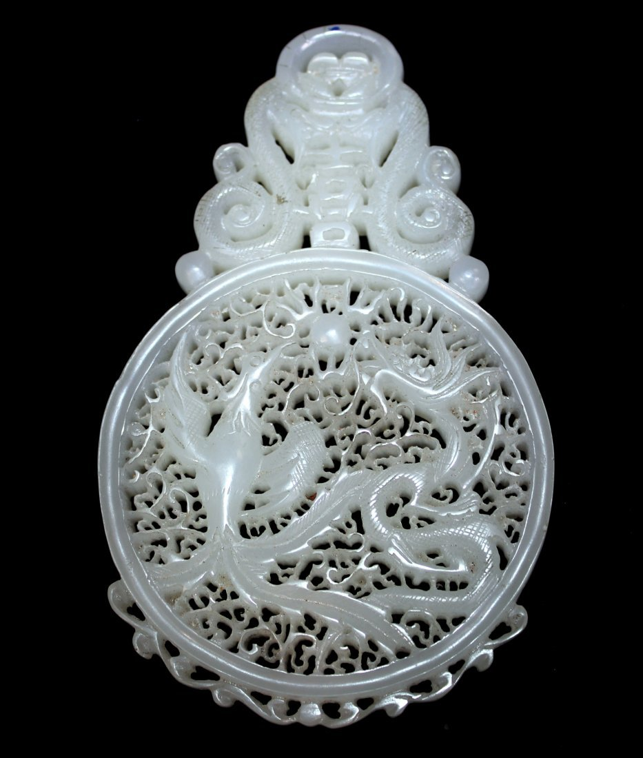 CHINESE WHITE JADE TABLE SCREEN ON CARVED STAND - 5