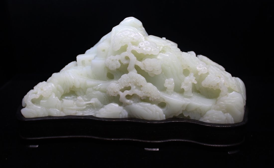 WHITE JADE CARVED MOUNTAIN ON CUSTOM STAND - 2