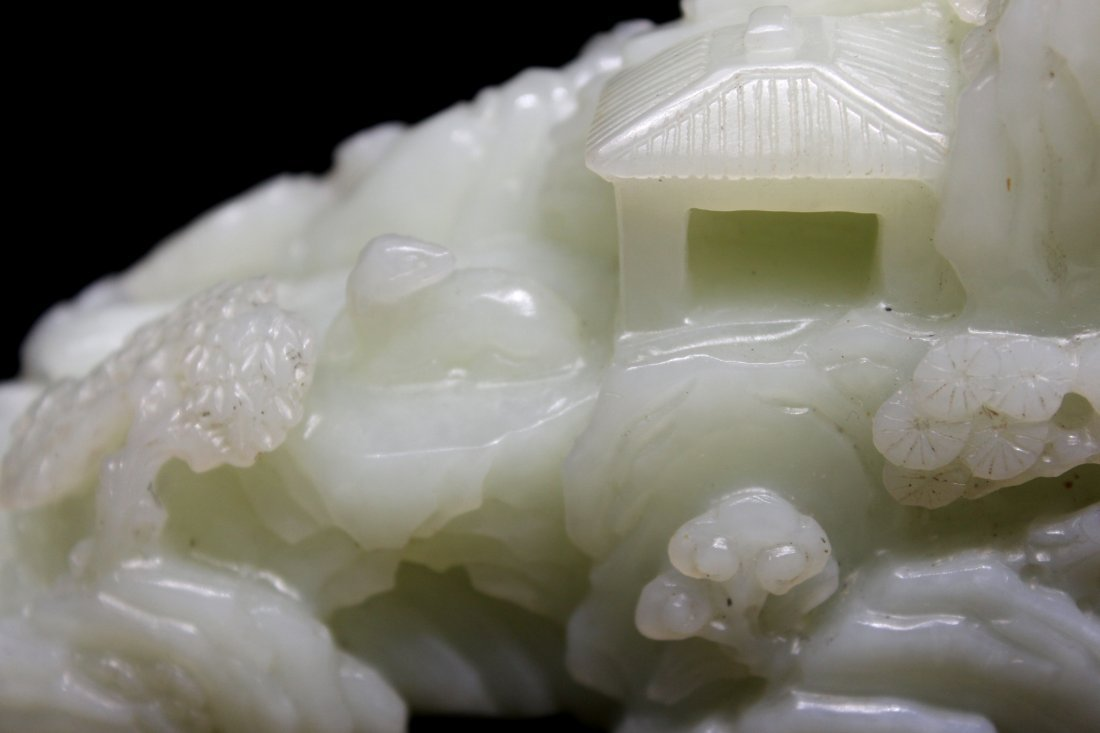 WHITE JADE CARVED MOUNTAIN ON CUSTOM STAND - 7