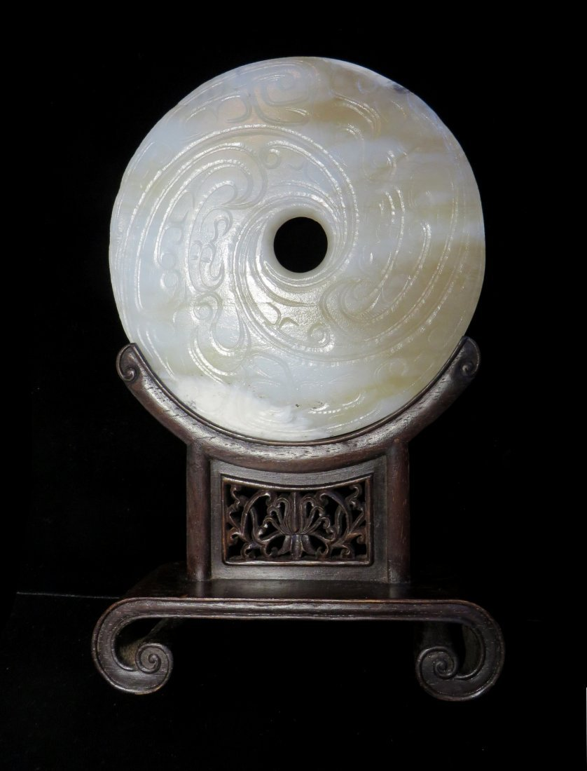CHINESE JADE BI DISC ON STAND