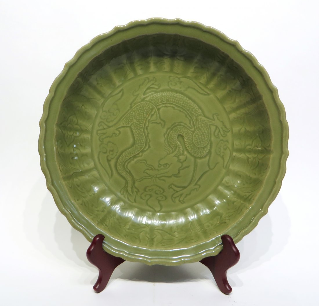 CHINESE CELADON CHARGER PLATE, MING DYNASTY
