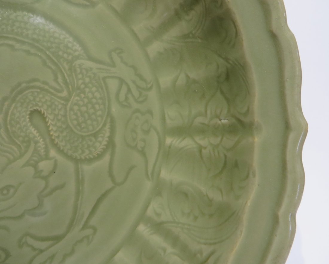 CHINESE CELADON CHARGER PLATE, MING DYNASTY - 2