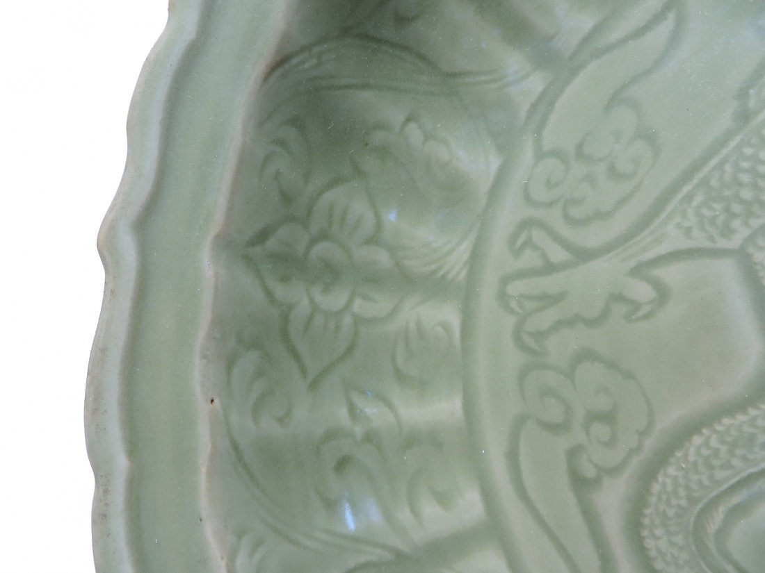 CHINESE CELADON CHARGER PLATE, MING DYNASTY - 4