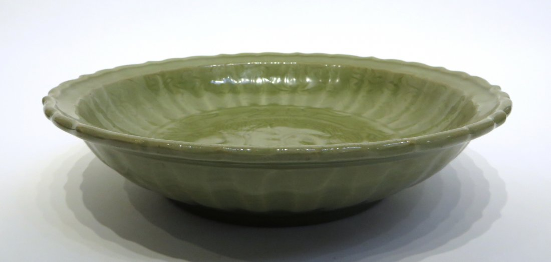 CHINESE CELADON CHARGER PLATE, MING DYNASTY - 5