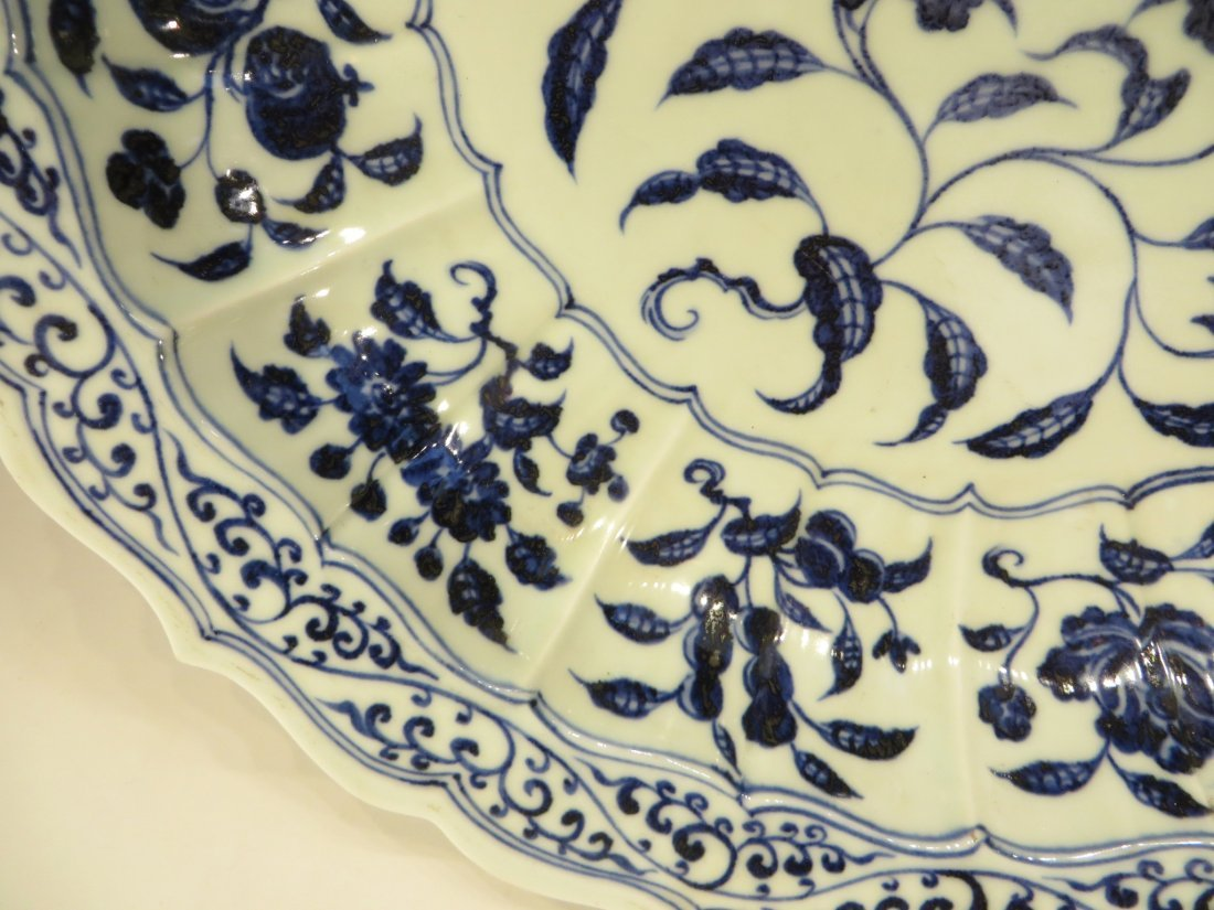 CHINESE MING BLUE AND WHITE SHALLOW BOWL - 4