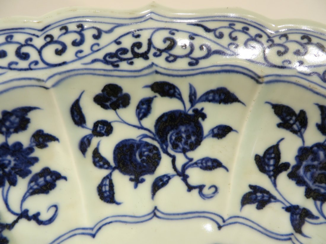 CHINESE MING BLUE AND WHITE SHALLOW BOWL - 5