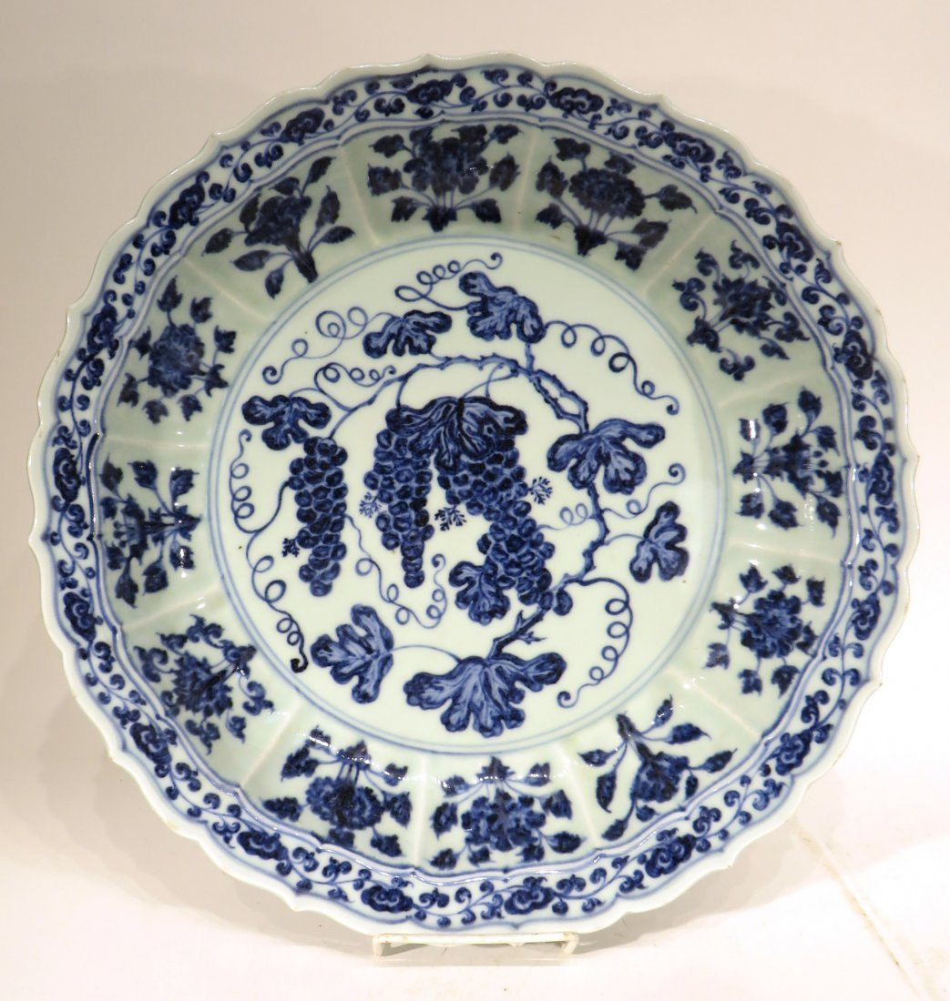 MING DYNASTY STYLE BLUE AND WHITE SHALLOW BOWL