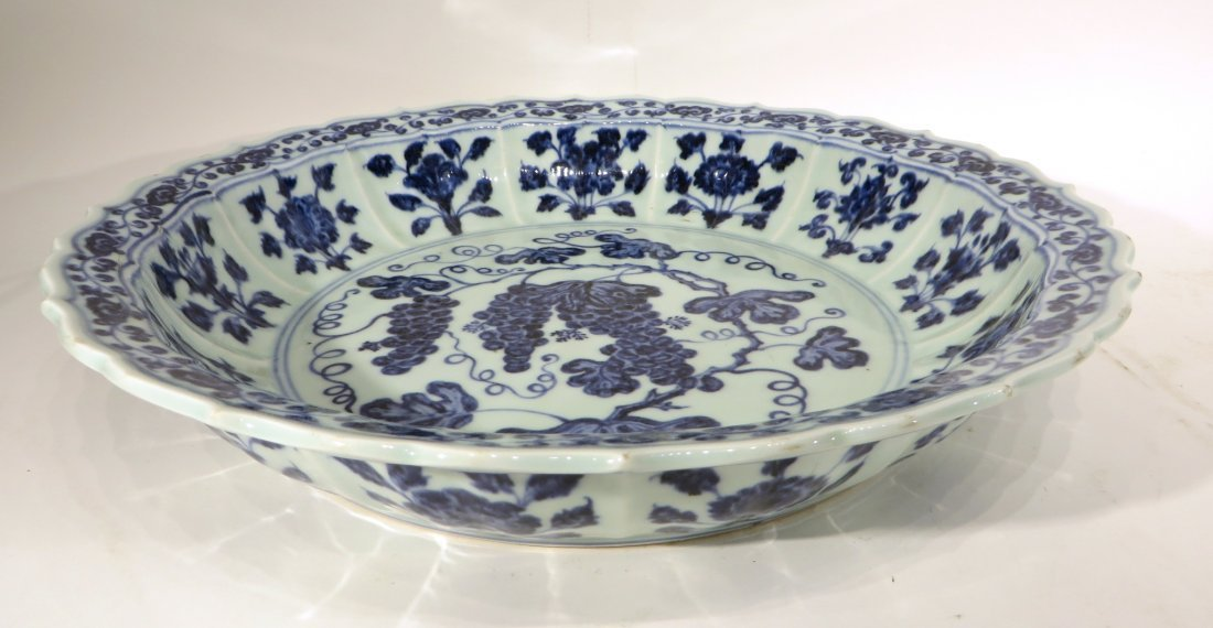MING DYNASTY STYLE BLUE AND WHITE SHALLOW BOWL - 2