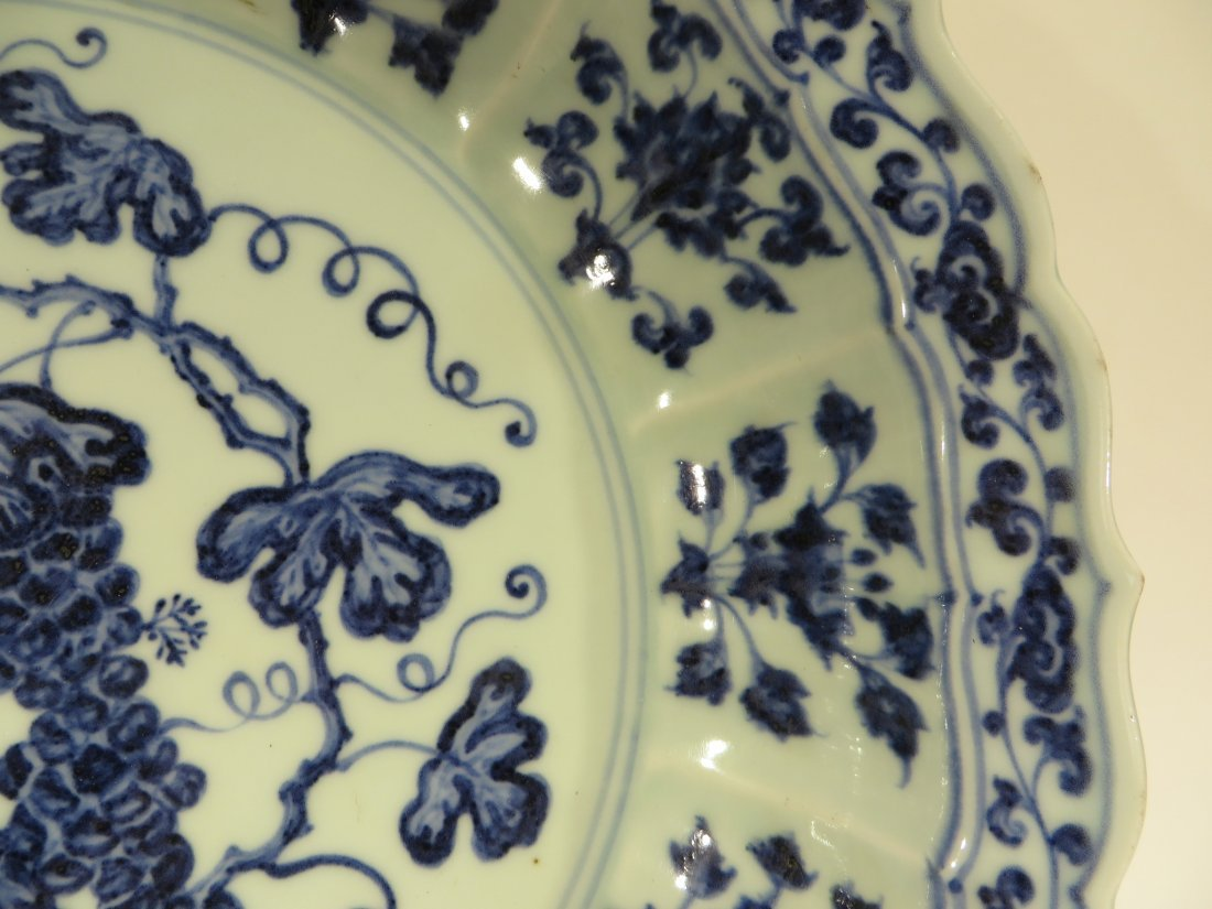 MING DYNASTY STYLE BLUE AND WHITE SHALLOW BOWL - 3