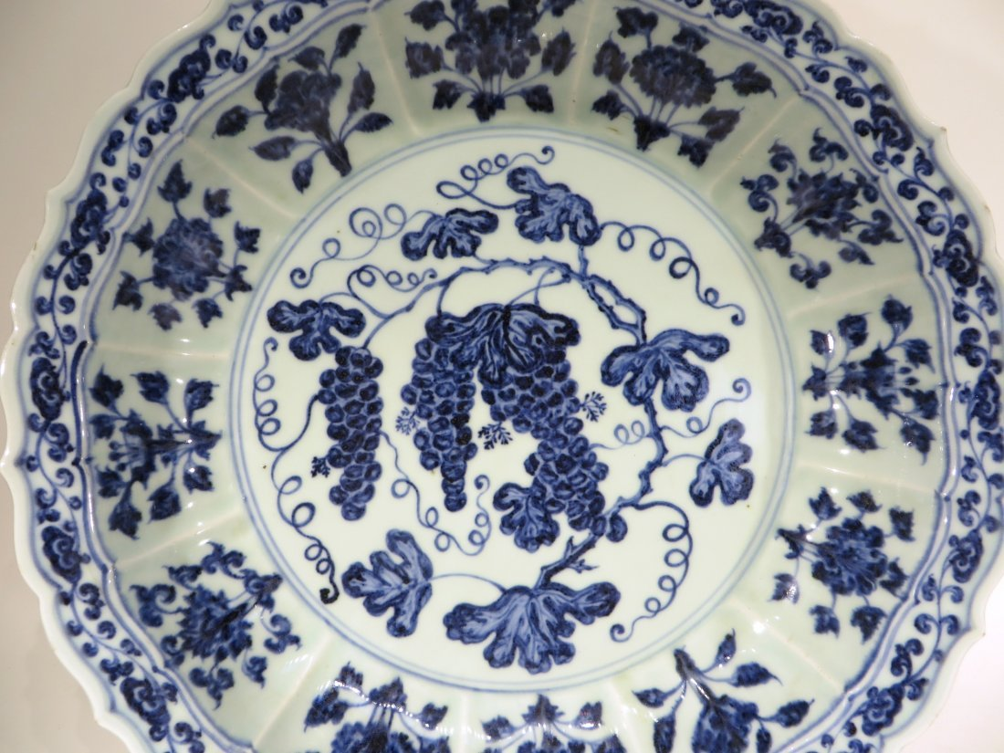 MING DYNASTY STYLE BLUE AND WHITE SHALLOW BOWL - 6