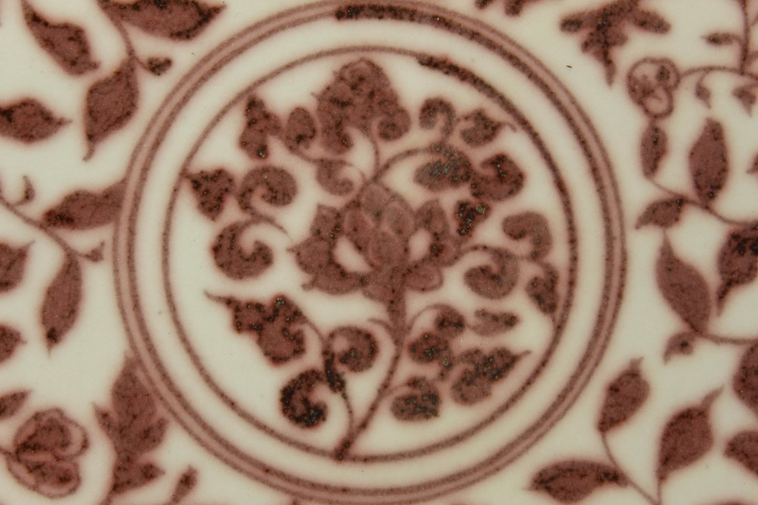 MING DYNASTY RED AND PALE CELADON PLATE - 10