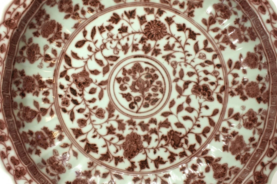 MING DYNASTY RED AND PALE CELADON PLATE - 2