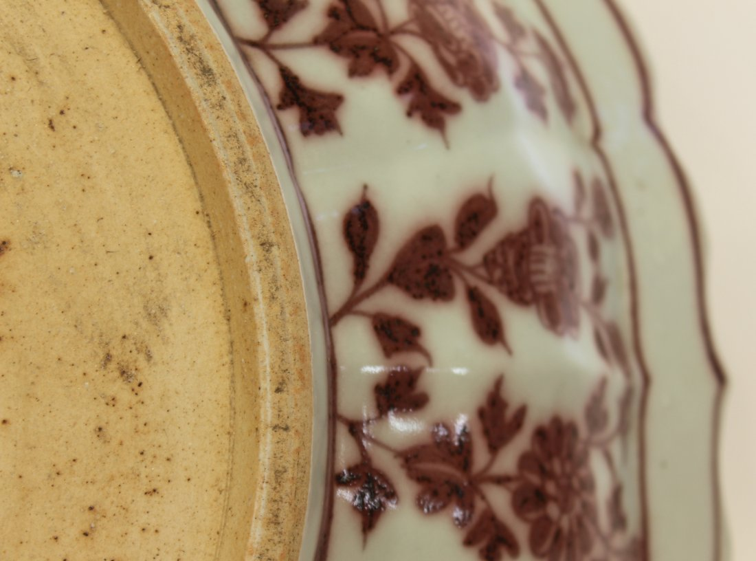 MING DYNASTY RED AND PALE CELADON PLATE - 9
