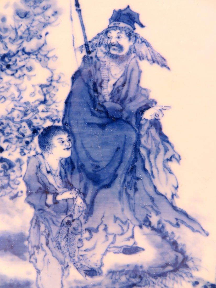 BING WU 20TH CENTURY BLUE & WHITE CONG VASE - 4