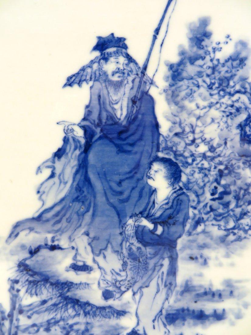 BING WU 20TH CENTURY BLUE & WHITE CONG VASE - 6