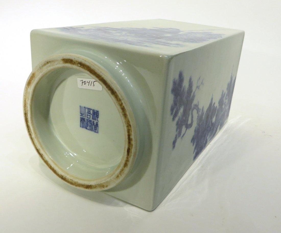 BING WU 20TH CENTURY BLUE & WHITE CONG VASE - 9