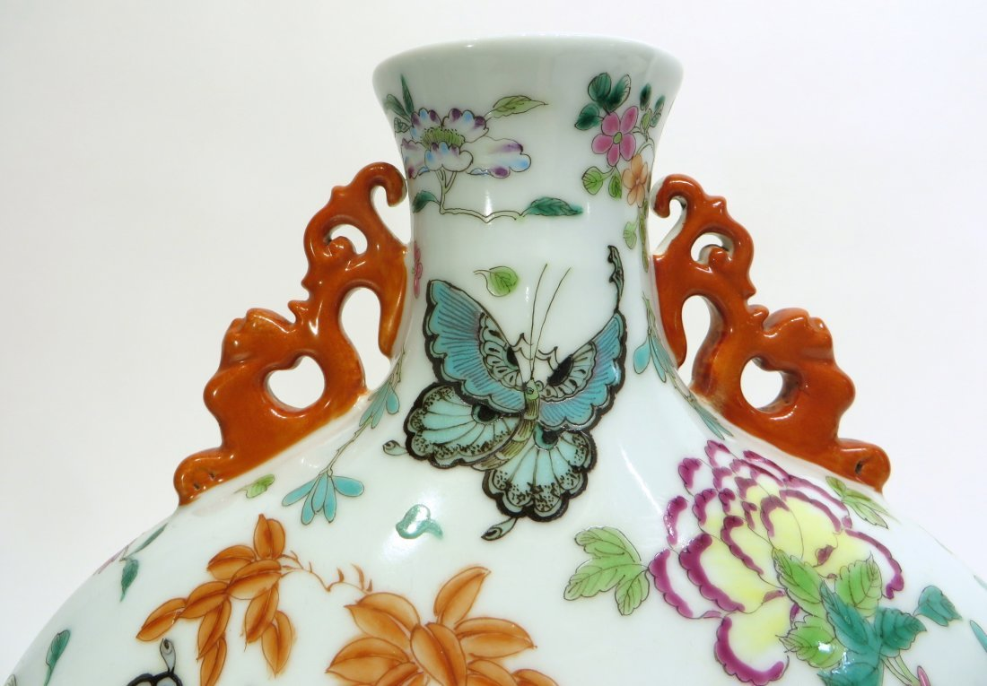CHINESE QIAN LONG BUTTERFLY MOON FLASK - 3