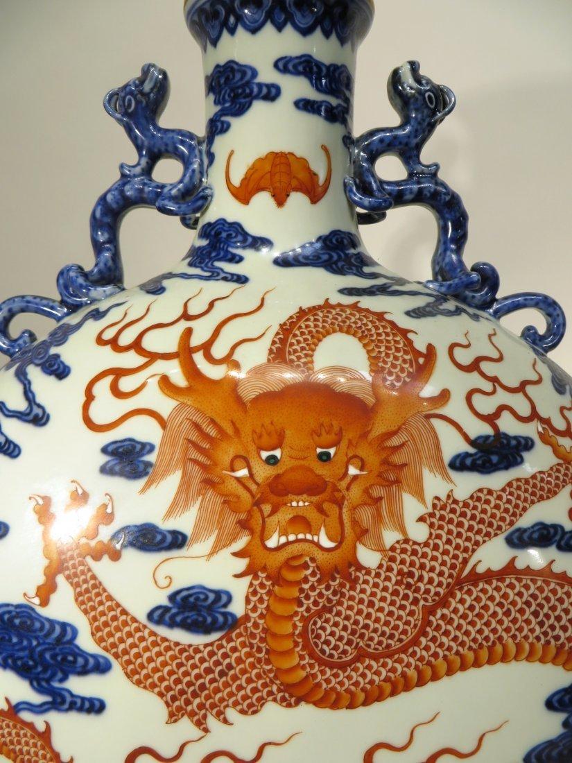CHINESE QIAN LONG PORCELAIN DRAGON VASE - 7