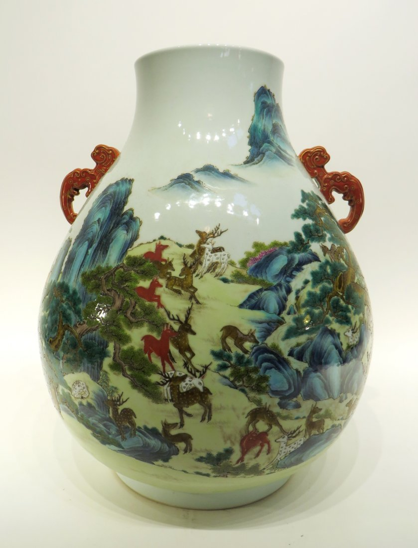 "CHINESE QIAN LONG MARKED ""HUNDRED DEER'S"" VASE"