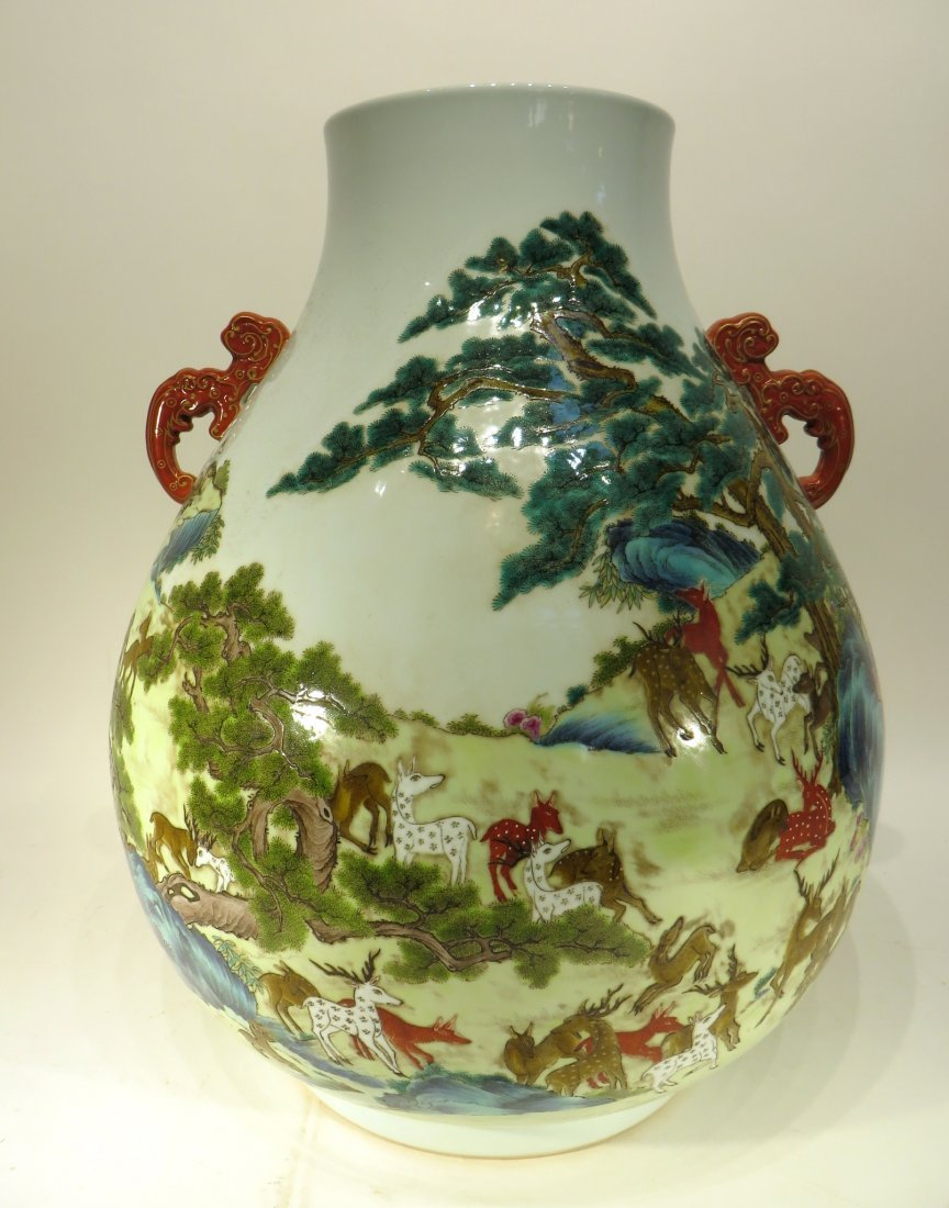 "CHINESE QIAN LONG MARKED ""HUNDRED DEER'S"" VASE - 4"