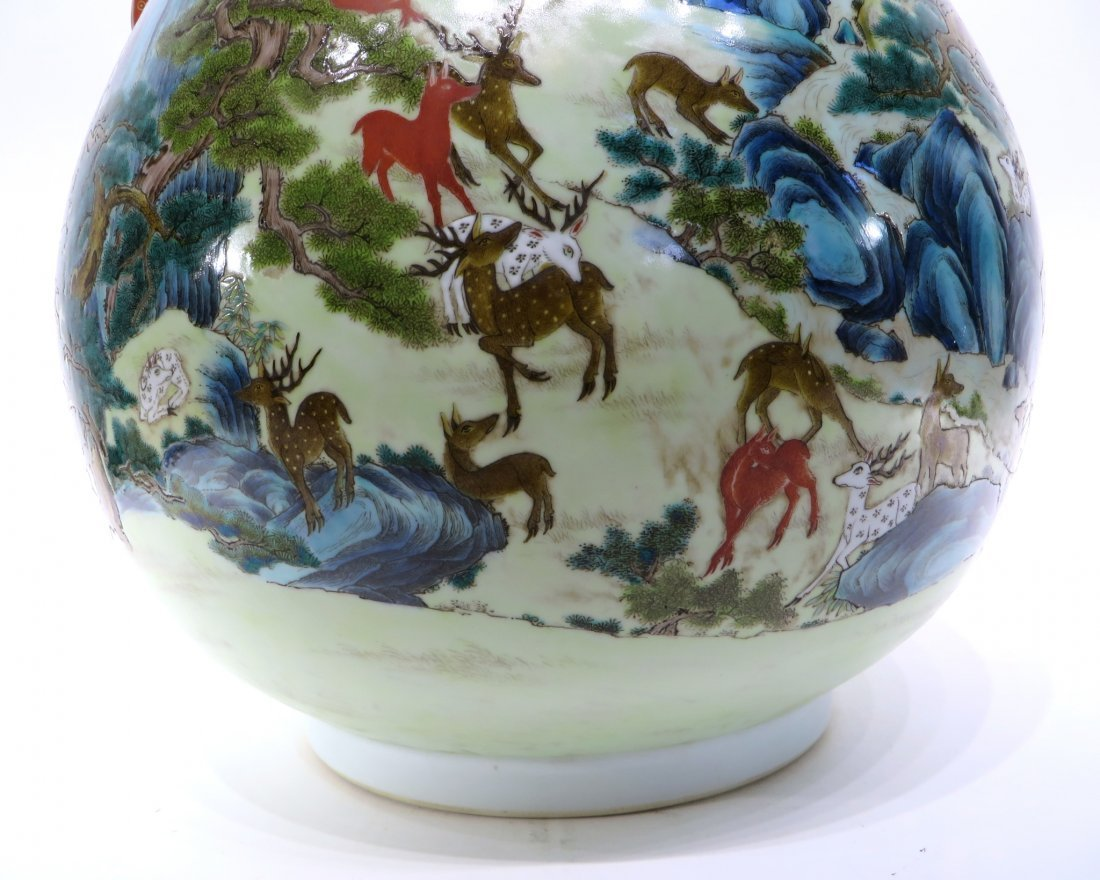 "CHINESE QIAN LONG MARKED ""HUNDRED DEER'S"" VASE - 5"