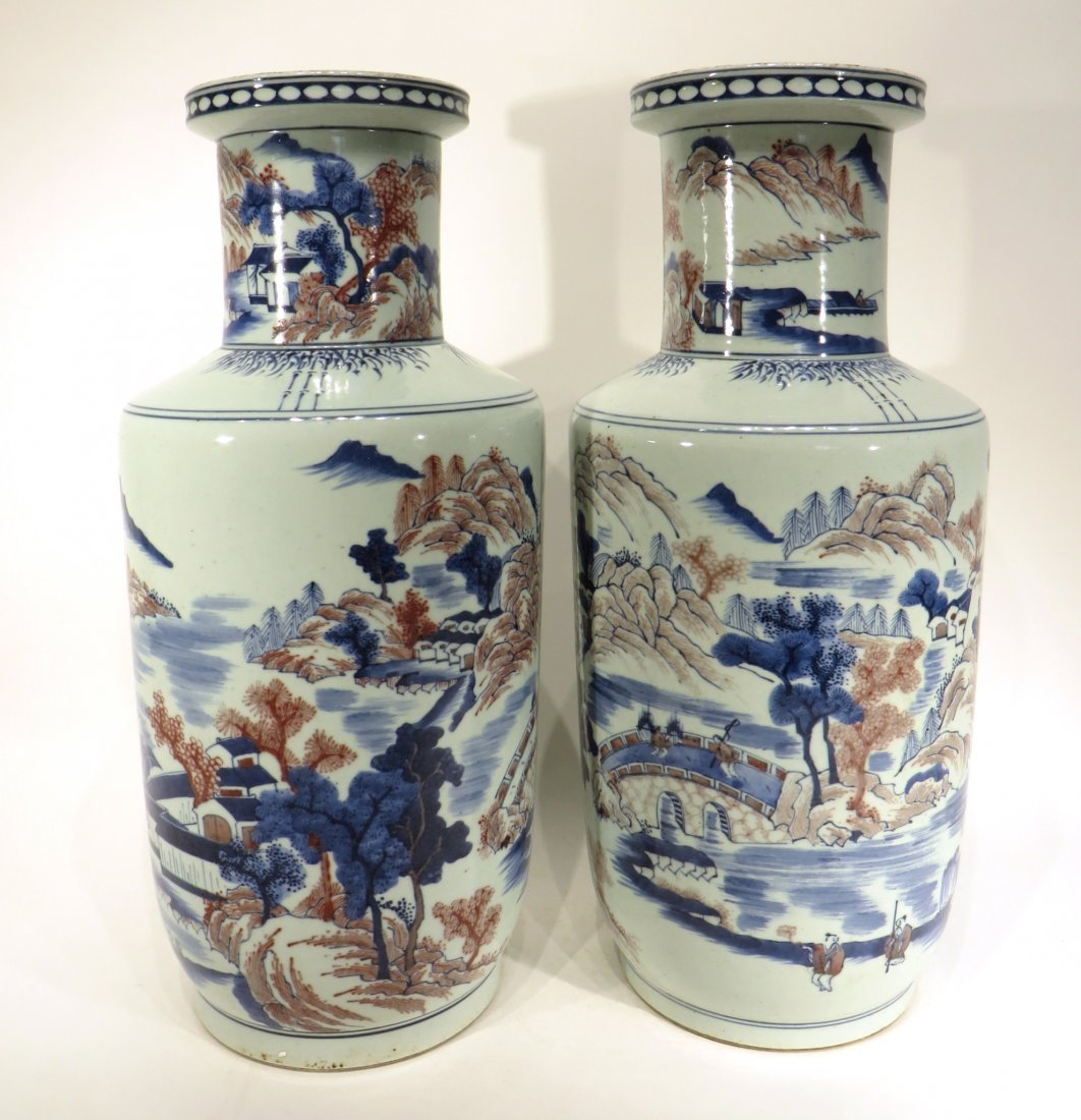 PAIR OF KANG XI MARKED BLUE AND RED VASES - 2