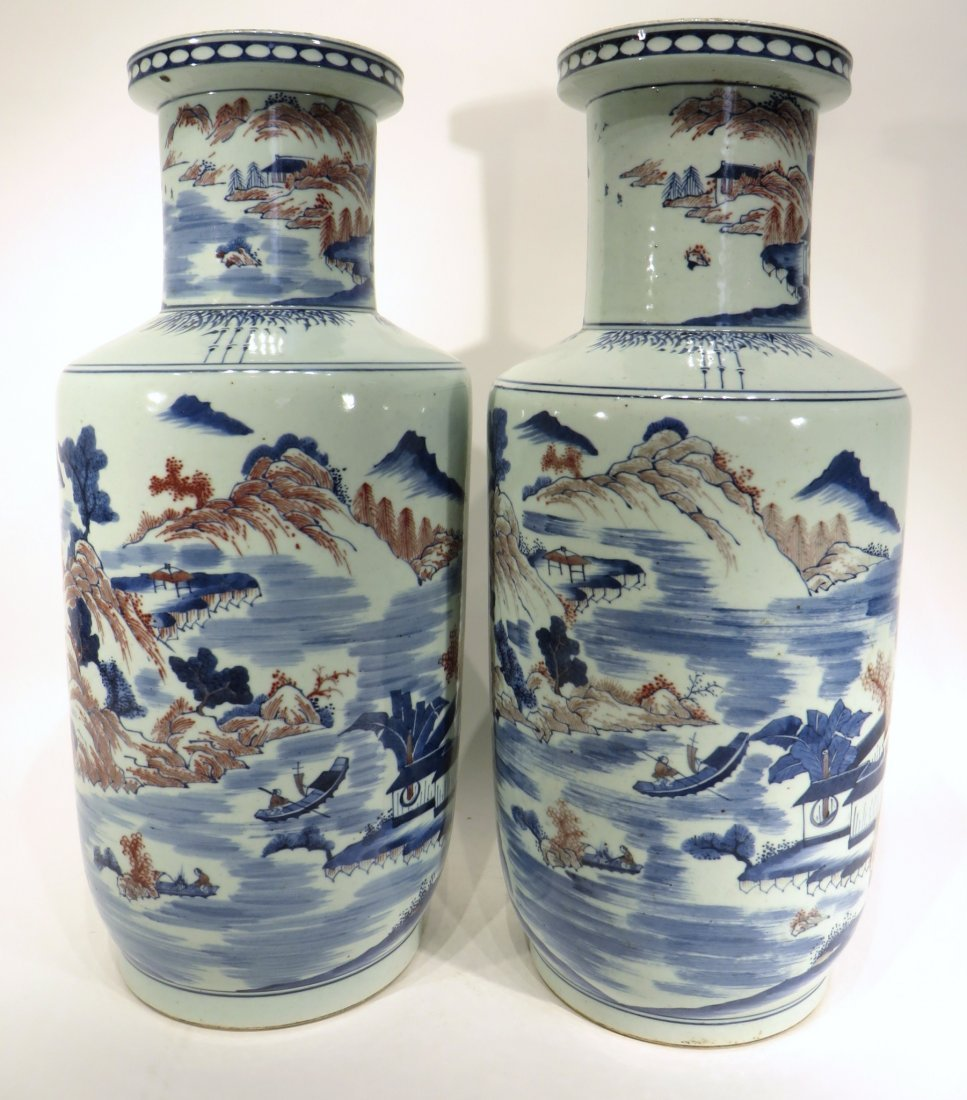 PAIR OF KANG XI MARKED BLUE AND RED VASES - 3