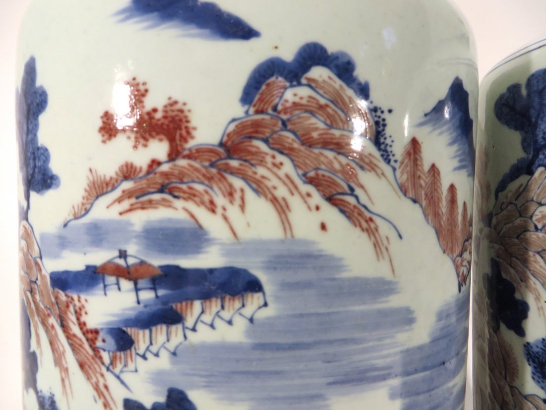 PAIR OF KANG XI MARKED BLUE AND RED VASES - 6